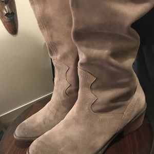Tan high suede Naughty Monkey heeled boots